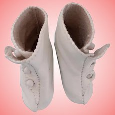 Soft White Leather Artist Heeled Boots
