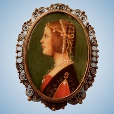 Fine Antique Miniature Painting Pin or Necklace