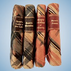Miniature Books with Plaid Silk Covers for Fashion
