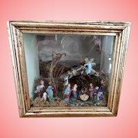 Miniature Nativity Scene in a Shadow Box