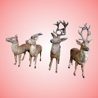 Four Lead German Miniature Reindeer