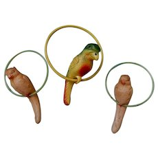 Three Vintage Celluloid  Parrot Tree Ornaments