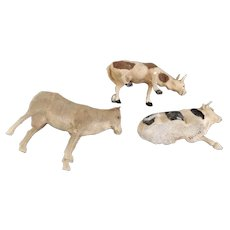 Flocked German Cows for Putz or Nativity