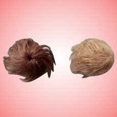 Two Small Mohair Baby Wigs
