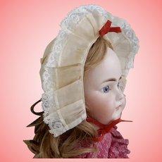 Vintage Ecru Organdy and Lace Bonnet