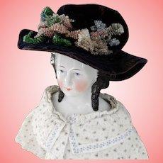 Velvet Hat with Glass Bead Flowers.