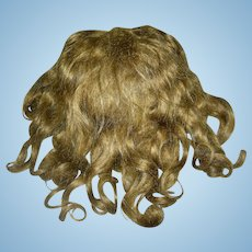 "Antique Brown Mohair wig 11-12""HC Middle part with sides tied back."