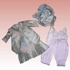 "Silk Dress, Bonnet and underwear for 24-26"" Bisque Doll"