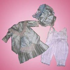 """Silk Dress, Bonnet and underwear for 24-26"""" Bisque Doll"""