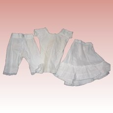 Antique Cotton Undies; petticoat, bloomers, & Chemise for Lady