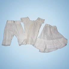 Antique Cotton Undies; petticoat, bloomers, & Chemise for Lady