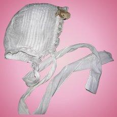 Vintage Batiste Baby Bonnet Tuck Work & lace