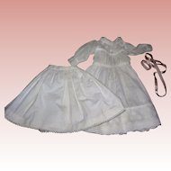 Sweet Antique Batiste Cotton Dress & petticoat for Bisque Dolls