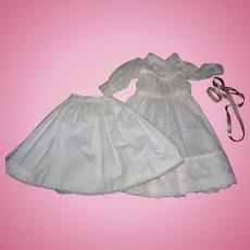 Sweet Antique Batiste Cotton Dress & petticoat for Bisque Dolls