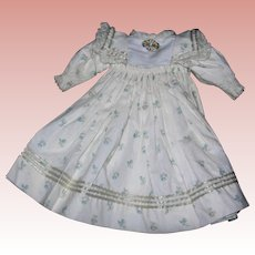 Sweet Theriault's Dress for Bisque Dolls with Vintage Pin