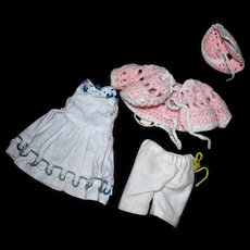 Small Dress, bloomers, crocheted sweater and Bonnet