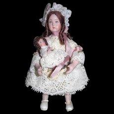 3 Victorian Miniature Dollhouse dolls By same artist
