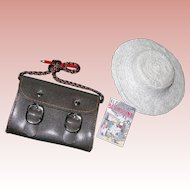 Bleuette items; Hat, book, & School bag