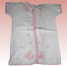 Vintage Sweet Embroidered Flannel Baby Robe Pink roses