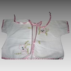 Vintage Short Flannel baby Robe Embroidered Cats/pink