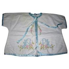 Vintage short flannel robe blue embroidery birds