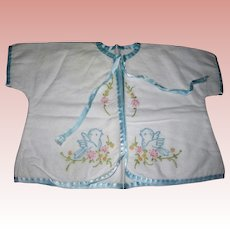 Vintage short flannel robe blue embroidery birds