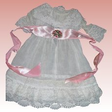 "Vintage Dress for 28 1/2"" Bisque doll with shawl and sash"