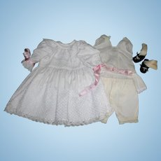 Beautiful White lace Dress, undies & shoes/socks for bisque dolls