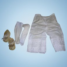 Vintage Cotton Bloomers,  Cotton socks and shoes for doll