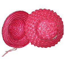 2 Vintage Red straw Hats for Composition or Hard Plastic dolls
