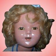 "15"" Pretty Shirley Temple in Box; Blue poke a dot dress"