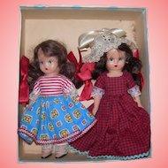 2 Nancy Ann Story Book dolls in Blue Poke a Dot box