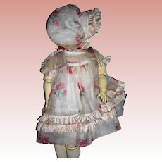 Gorgeous Organdy Rose print Dress, Bonnet and Undies for Vintage dolls 16-18""