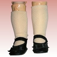 Vintage replacement shoes and socks for German Bisque dolls