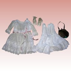 Vintage eyelet dress, petticoat, shoes, socks & purse