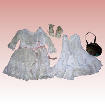 Vintage eyelet dress, petticoat, shoes, socks & purse