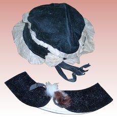 Vintage Black Bonnet and caplet ermine fur