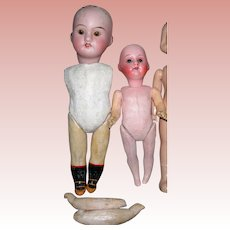 2 Small Composition/bisque head dolls TLC