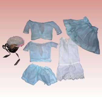 Vintage Pale blue Organdy Doll's Outfit with Hat
