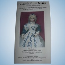 "Soutache Dress Tablier kit for 12"" french fashion Doll"