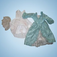 """Inventory Sale*** Vintage Satin Mint Green Colonial Style Dress, undies, and Lace cap for 23-24"""" doll"""