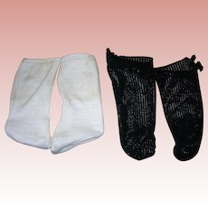 2 Pairs Vintage socks; cotton and black knitted