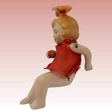 3 Inch All Bisque Sitting Girl with Bow Loop