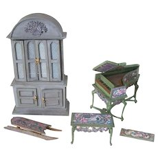 Handmade Miniature Harpsichord, Bench, Sled and Hutch