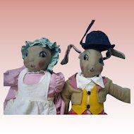 Vintage Cloth dolls Uncle Wiggley and Nurse  Jane
