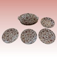 Brown and White Miniature Chintz Dishes