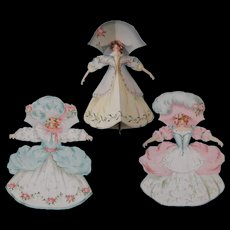 3 Stand-up Paper Dolls 7.5 Inch