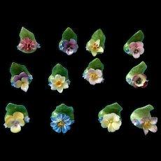 Miniature Floral Coalport Bone china Place card Holders