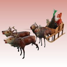 German Santa in Sled with Reindeer