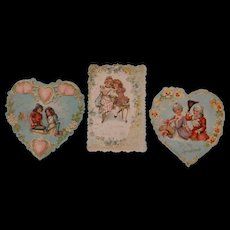 3 Victorian  Embossed Valentines
